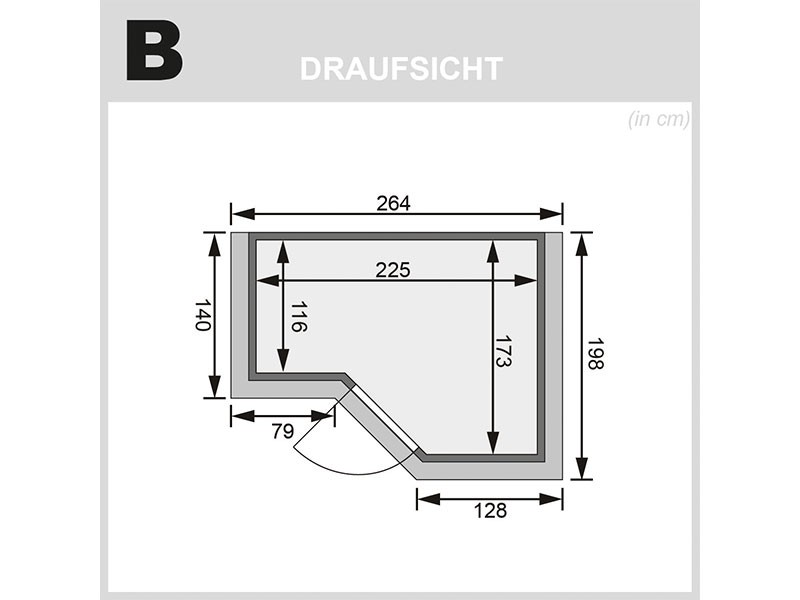 Karibu 40mm Comfort Massivholzsauna Sahib 2 - Eckeinstieg - Ganzglastür bronziert - mit Dachkranz - 9kW Saunaofen mit integr. Steuerung