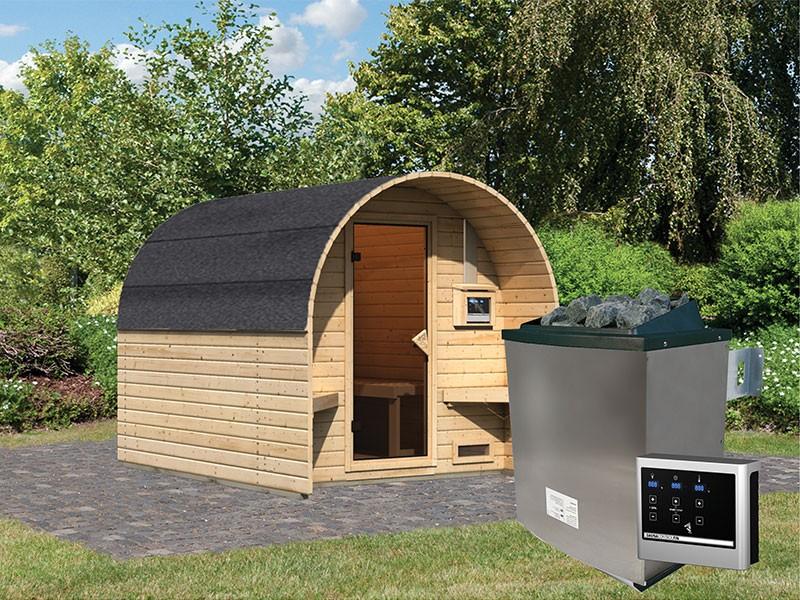Karibu Fasshaus 2 - 38 mm Saunahaus - Tonnendach - naturbelassen - 9kW Saunaofen mit externer Steuerung Easy