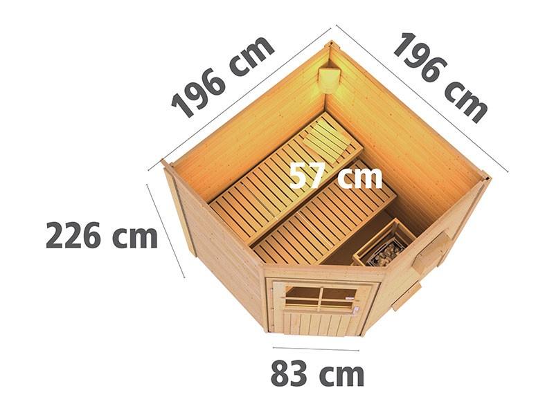 Karibu 38 mm Saunahaus Pekka - Pultdach - Moderne Saunatür - terragrau - 9kW Saunaofen mit externer Steuerung Easy