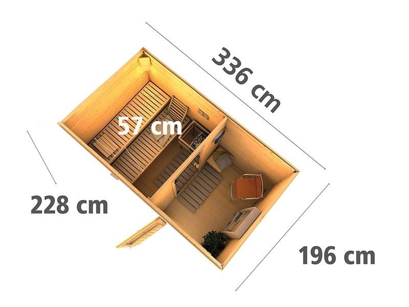 Karibu 38 mm Saunahaus Skrollan 1 - Pultdach - Moderne Saunatür - terragrau - 9kW Saunaofen mit externer Steuerung Easy