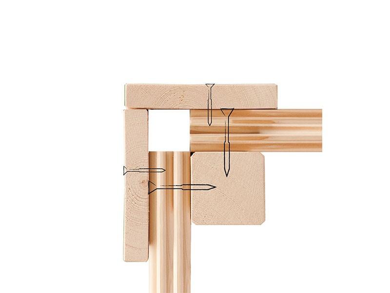 Karibu 38 mm Saunahaus Skrollan 3 - Pultdach - Moderne Saunatür - Saunafenster rund - naturbelassen - 9kW Bio-Kombiofen mit externer Steuerung Easy bio