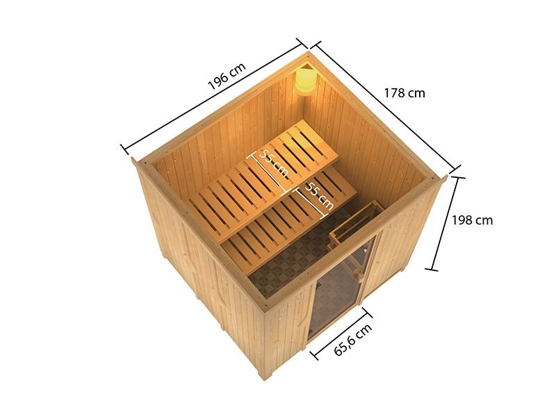 Woodfeeling 68 mm Systembausauna Tromsö - 4,5kW Saunaofen mit integr. Steuerung