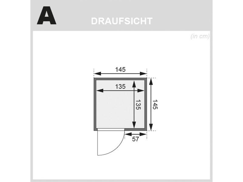 Woodfeeling 38 mm Massivholzsauna Sandra - für niedrige Räume - ohne Dachkranz - 4,5kW Saunaofen mit integr. Steuerung