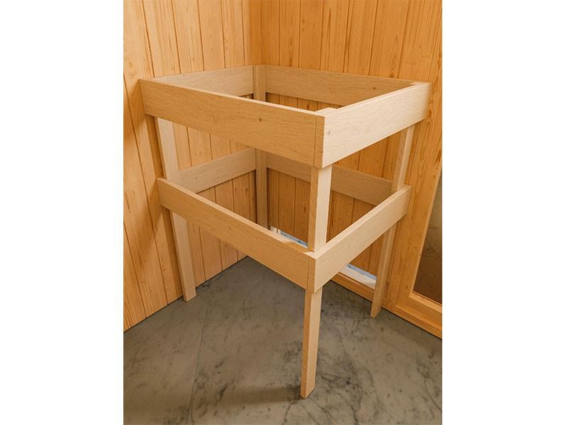 Woodfeeling 38 mm Massivholzsauna Sandra - für niedrige Räume - mit Dachkranz - 4,5kW Saunaofen mit integr. Steuerung