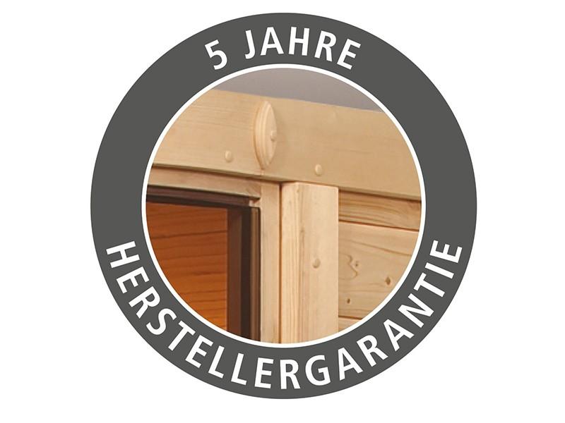 Woodfeeling 38 mm Massivholzsauna Sandra - für niedrige Räume - mit Dachkranz - 4,5kW Saunaofen mit externer Steuerung Easy