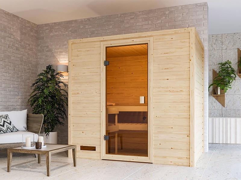 Woodfeeling 38 mm Massivholzsauna Selena - für niedrige Räume - ohne Dachkranz - 4,5kW Saunaofen mit externer Steuerung Easy
