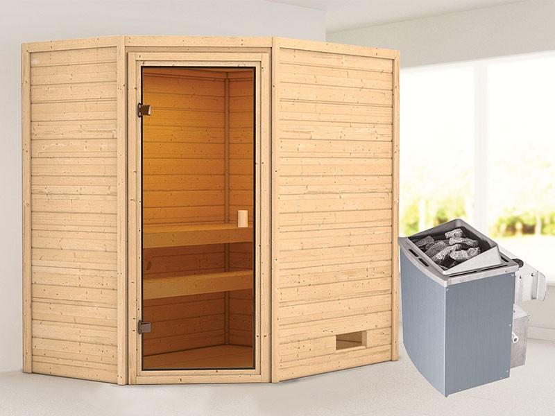 Woodfeeling 38 mm Massivholzsauna Jella - für niedrige Räume - ohne Dachkranz - 4,5kW Saunaofen mit integr. Steuerung