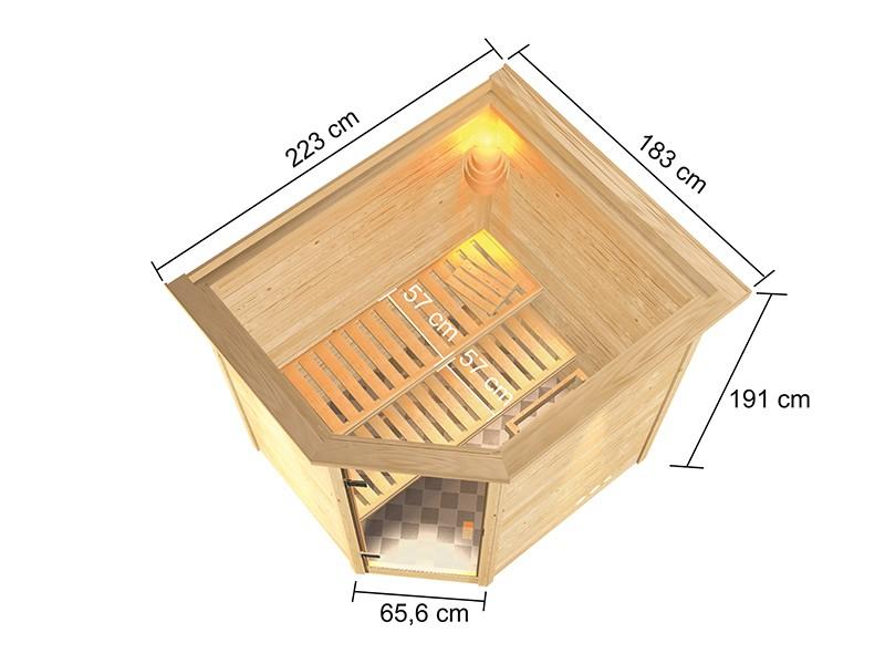 Woodfeeling 38 mm Massivholzsauna Elea - für niedrige Räume - mit Dachkranz - 4,5kW Bio-Kombiofen mit externer Steuerung Easy bio