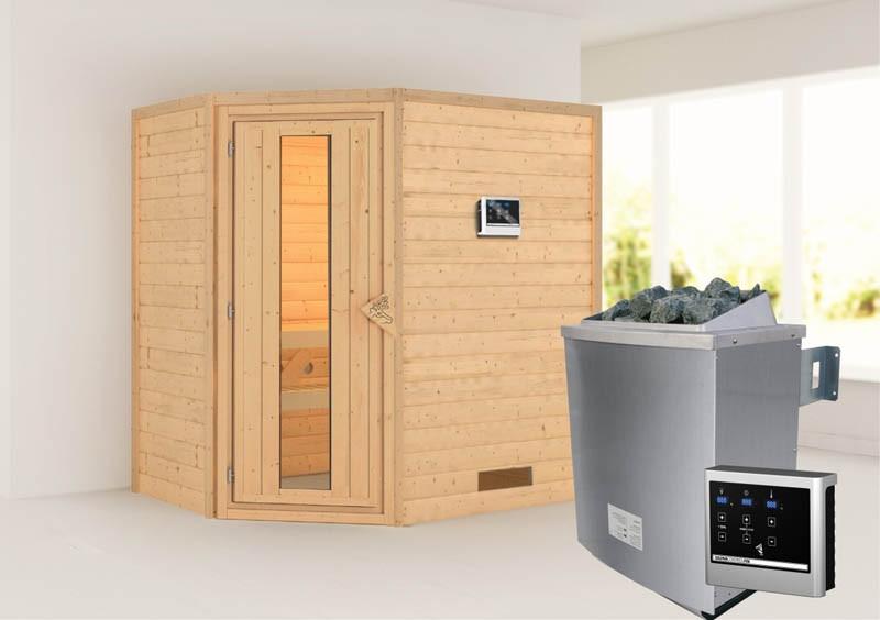 Woodfeeling 38 mm Massivholzsauna Svea - Eckeinstieg - Energiespartür - ohne Dachkranz - 4,5kW Saunaofen mit externer Steuerung Easy