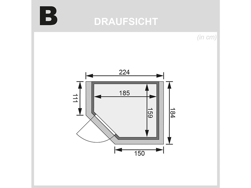 Woodfeeling 38 mm Massivholzsauna Mia - Eckeinstieg - Ganzglastür graphit - mit Dachkranz - 4,5kW Saunaofen mit integr. Steuerung