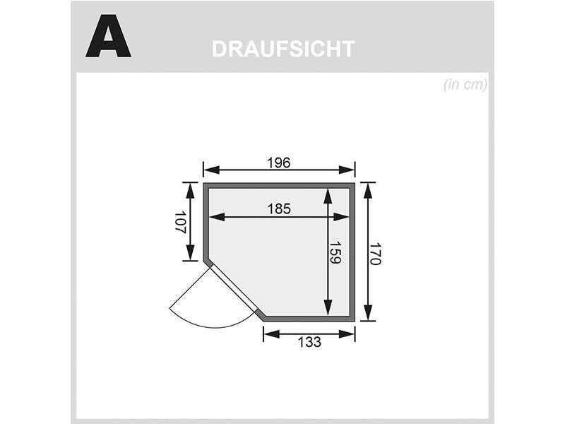 Woodfeeling 38 mm Massivholzsauna Mia - Eckeinstieg - Ganzglastür klarglas - ohne Dachkranz - 4,5kW Saunaofen mit externer Steuerung Easy
