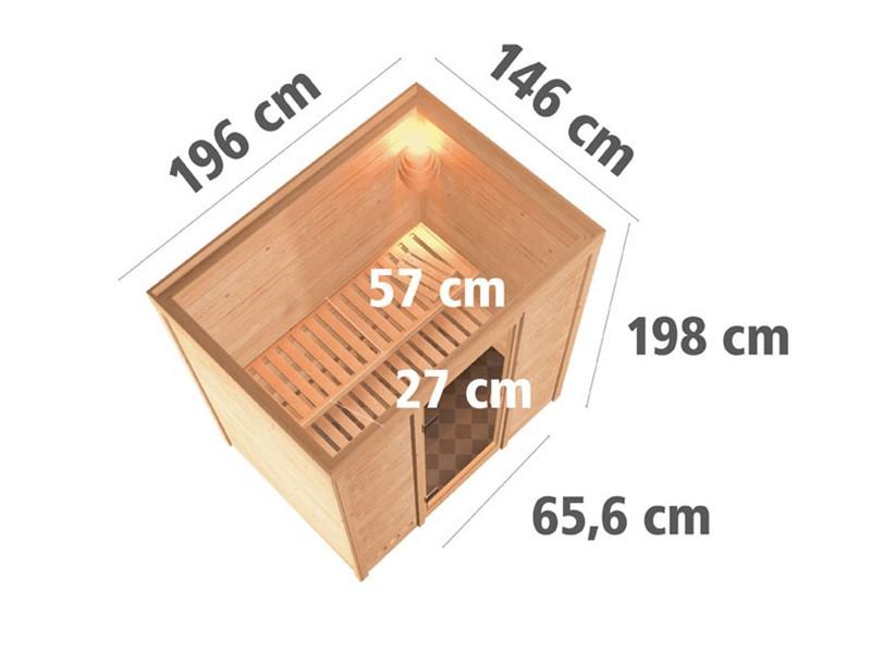 Woodfeeling 38 mm Massivholzsauna Sonja - Fronteinstieg - Ganzglastür klarglas - ohne Dachkranz - 4,5kW Saunaofen mit externer Steuerung Easy Bio