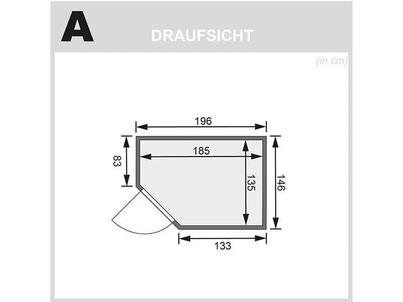 Woodfeeling 38 mm Massivholzsauna Svea - Eckeinstieg - Ganzglastür bronziert - ohne Dachkranz - 4,5kW Saunaofen mit externer Steuerung Easy