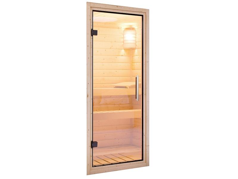 Woodfeeling 38 mm Massivholzsauna Svea - Eckeinstieg - Ganzglastür klarglas - mit Dachkranz - 4,5kW Saunaofen mit integr. Steuerung