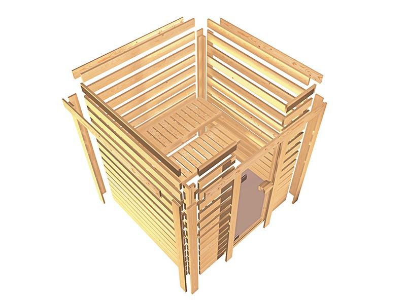Woodfeeling 38 mm Massivholzsauna Svea - Eckeinstieg - Ganzglastür klarglas - mit Dachkranz - 4,5kW Saunaofen mit externer Steuerung Easy