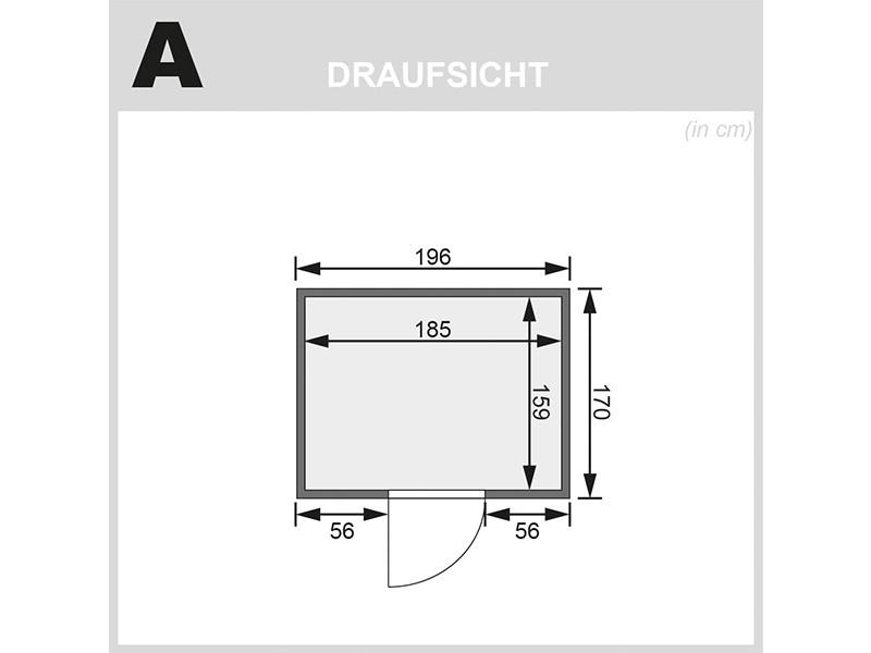 Woodfeeling 38 mm Massivholzsauna Anja - Fronteinstieg - Ganzglastür bronziert - ohne Dachkranz - 4,5kW Saunaofen mit integr. Steuerung