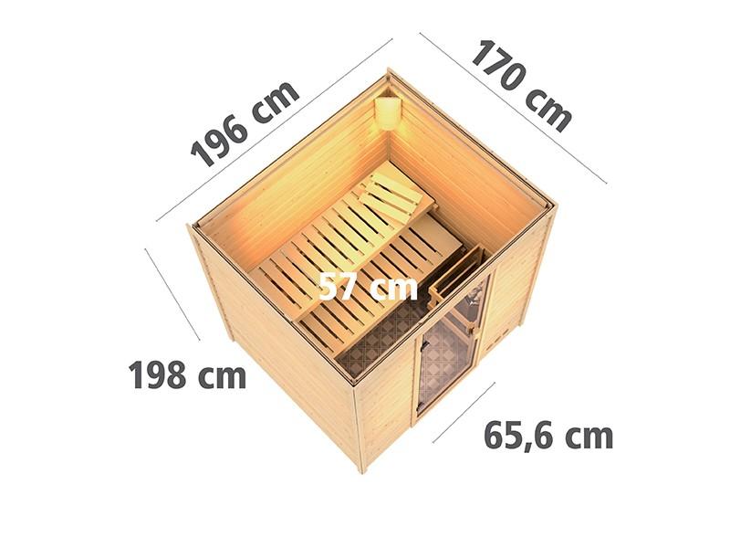 Woodfeeling 38 mm Massivholzsauna Anja - Fronteinstieg - Ganzglastür bronziert - ohne Dachkranz - 4,5kW Saunaofen mit externer Steuerung Easy