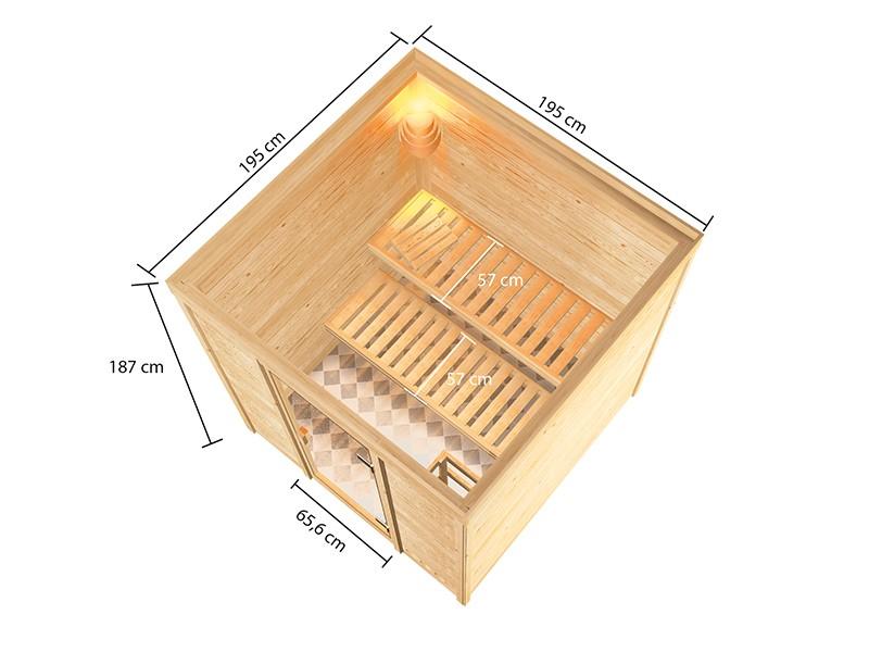 Woodfeeling 38 mm Massivholzsauna Jara - für niedrige Räume - ohne Dachkranz - 4,5kW Bio-Kombiofen mit externer Steuerung Easy bio