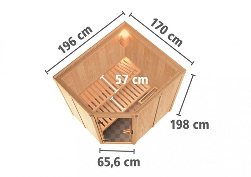 Karibu 68mm Systembausauna Siirin Eckeinstieg mit Bronzierter Tür - ohne Dachkranz