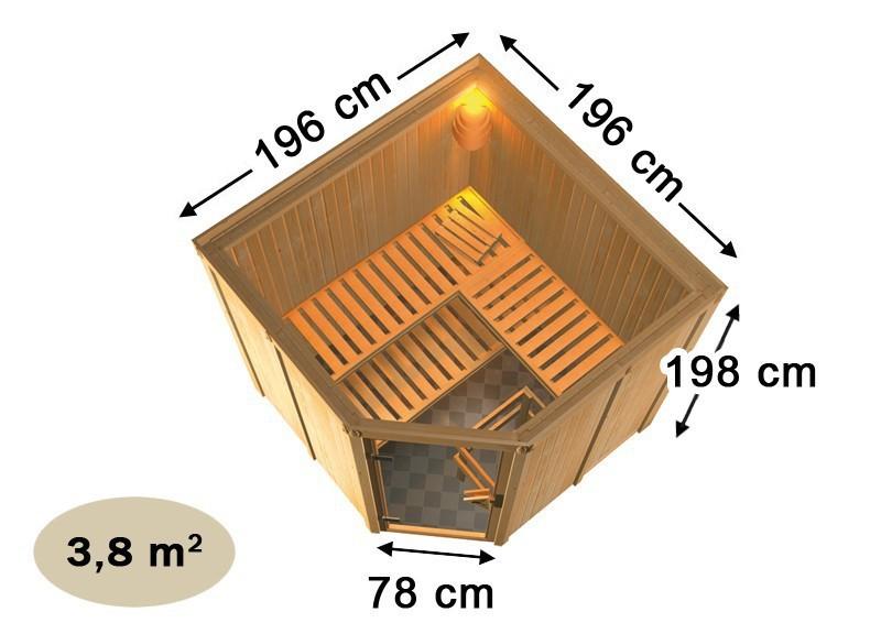 Karibu 68mm Systembausauna Jarin Eckeinstieg mit Bronzierter Tür - ohne Dachkranz