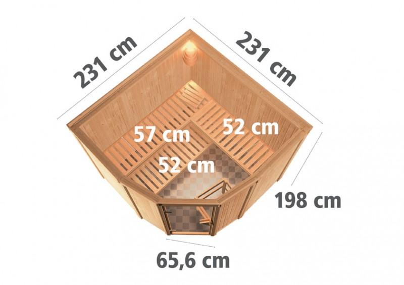 Karibu 68mm Systembausauna Simara 3 Eckeinstieg mit Bronzierter Tür