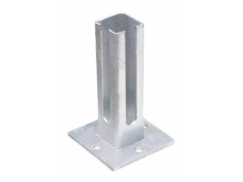 Fußplatte Doppelstabgitterzaun Zaunpfosten Typ Q - Eckpfosten silbergrau verzinkt