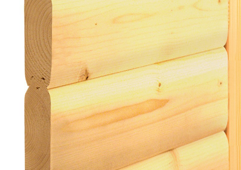 Karibu Heimsauna Cortona (Eckeinstieg) ohne Zubehör mit Dachkranz 40 mm Massivholzsauna