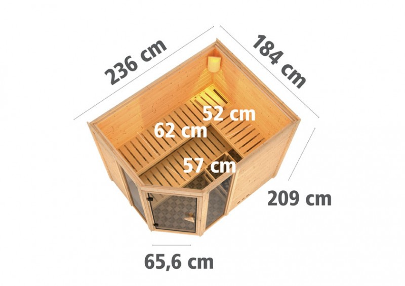 Karibu 40mm Massivholzsauna Sinai 3 Eckeinstieg und Bronzierter Tür - ohne Dachkranz - inkl. Fensterelemente
