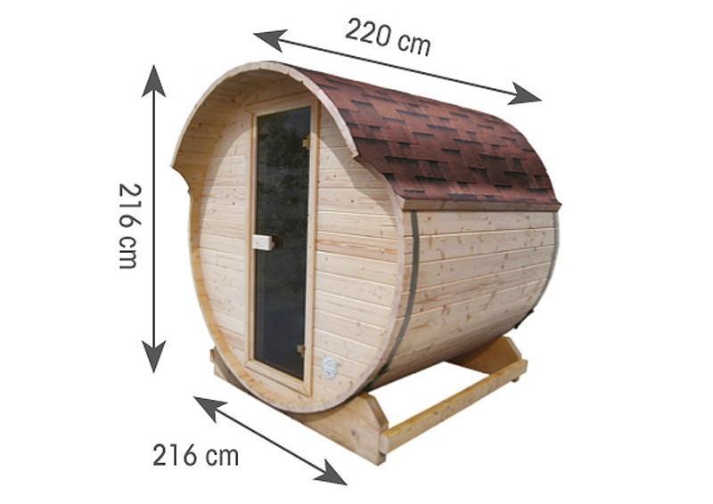 Karibu Fasssauna 1 - 42 mm - Tonnendach, naturbelassen -  Fass-Sauna inkl. Zubehör