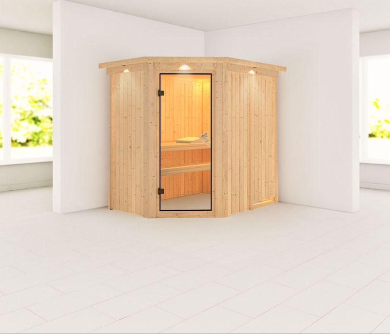 Karibu 68mm Systembausauna Carin Eckeinstieg mit Bronzierter Sauna-Tür - mit Dachkranz