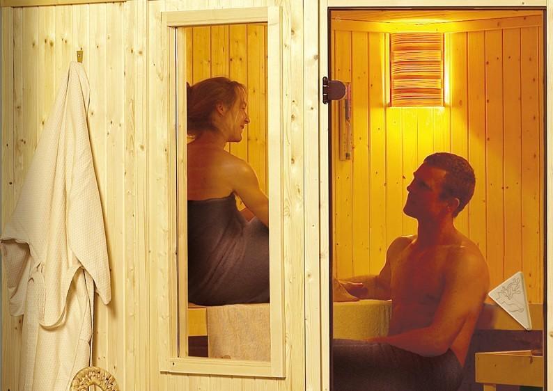 Karibu Heimsauna Simara 1 (Eckeinstieg) Fenster 68 mm Kein Kranz 68 mm Systemsauna