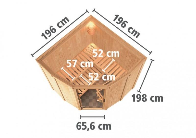 Karibu 68mm Systembausauna Simara 1 Eckeinstieg mit Bronzierter Tür - inkl. Fenster