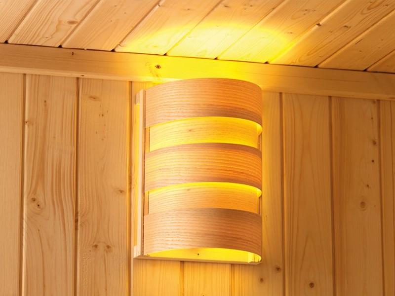 SPARSET! Karibu 68mm Systemsauna Daria - Plug&Play - Fronteinstieg - Ganzglastür bronziert - mit Dachkranz - 3,6kW Saunaofen mit Steuerung - Saunaleuchte Classic - Zubehörpaket