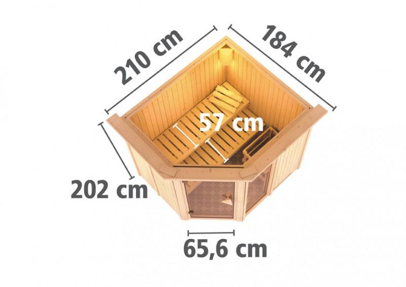 Karibu 68mm Systembausauna Fiona 2 Eckeinstieg mit Bronzierter Tür - mit Dachkranz