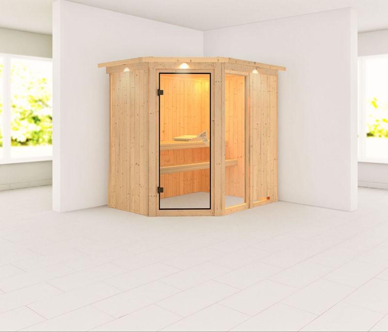 Karibu 68mm Systembausauna Fiona 1 Eckeinstieg mit Bronzierter Tür - mit Dachkranz