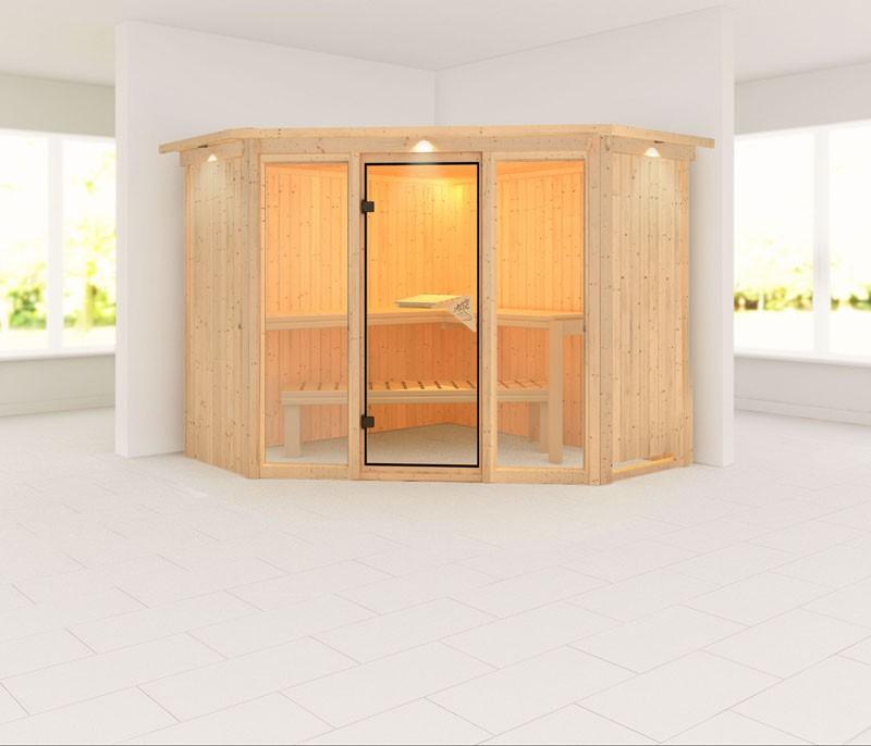 Karibu 68mm Systembausauna Flora 2 Fronteinstieg mit Bronzierter Tür - inkl. Fenster - mit Dachkranz