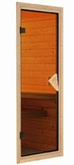 Karibu 40mm Massivholzsauna Sonara Fronteinstieg mit Bronzierter Tür - mit Dachkranz