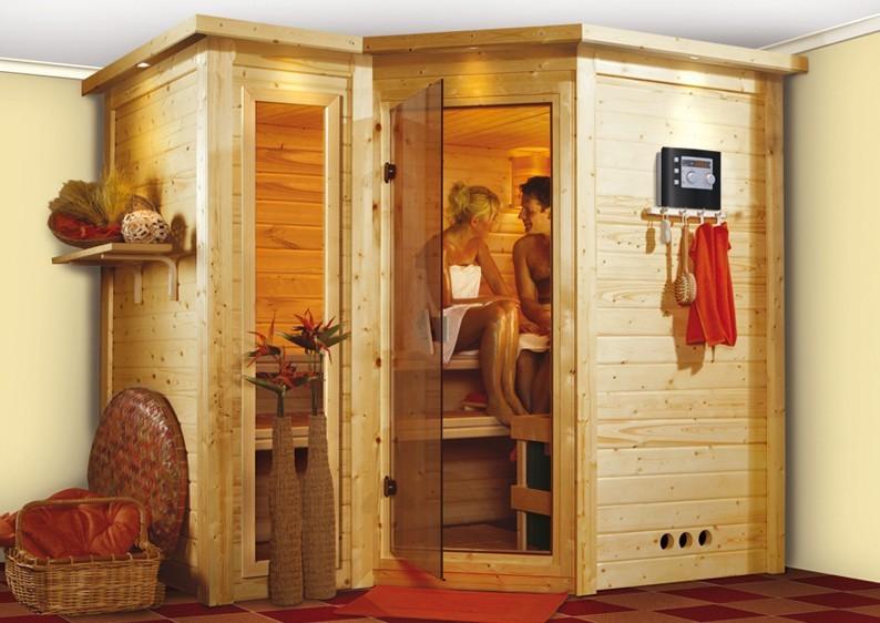 Karibu 40mm Massivholzsauna Sahib 2 Eckeinstieg und Bronzierter Tür - mit Dachkranz - inkl. dritter Bankliege