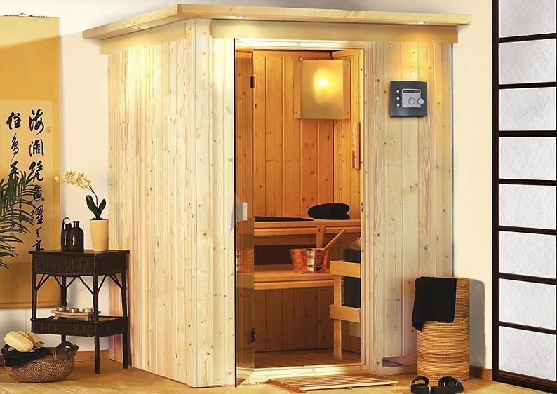 Karibu Heimsauna Minja ( Fronteinstieg)  ohne Zubehör mit Dachkranz Plug & Play 230Volt Sauna