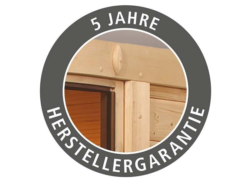 Karibu 68mm Systemsauna Saja - Plug&Play - Eckeinstieg - Ganzglastür bronziert - mit Dachkranz