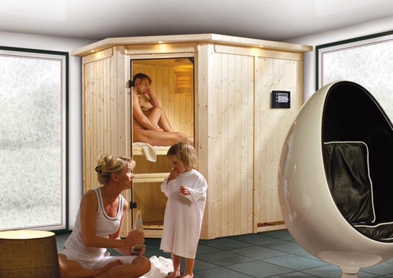 Karibu Plug & Play Systemsauna 68mm Saja mit Eckeinstieg und Bronzierter Tür - mit Dachkranz