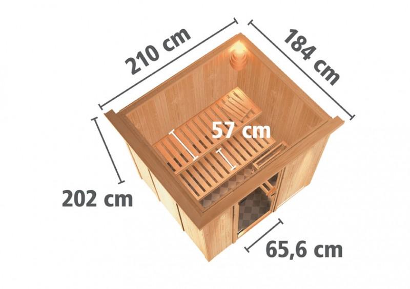 Karibu Heimsauna Daria (Fronteinstieg)   ohne Zubehör 210*184*202 cm Plug & Play 230Volt Sauna
