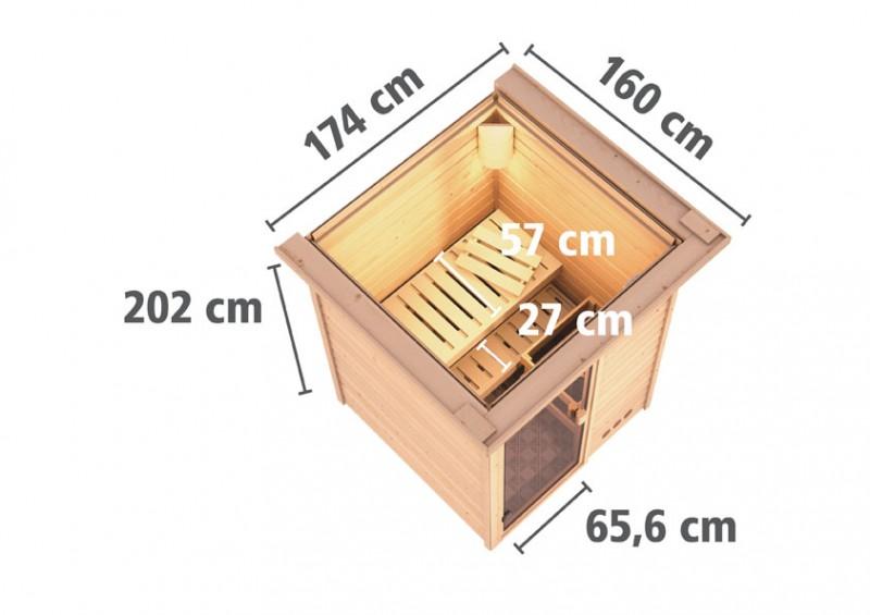 Karibu Heimsauna Nadja (Fronteinstieg) ohne Zubehör mit Dachkranz Plug & Play 230Volt Sauna
