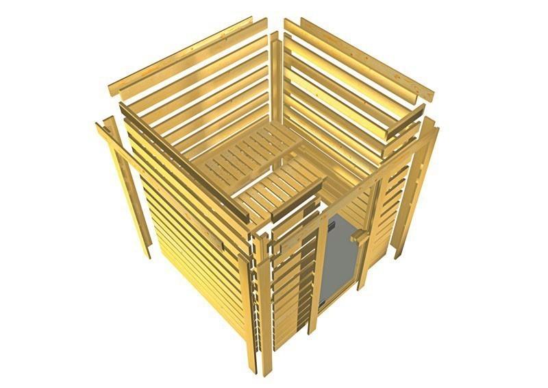 Woodfeeling 38 mm Massiv Sauna Franka Classic (Eckeinstieg) mit Dachkranz