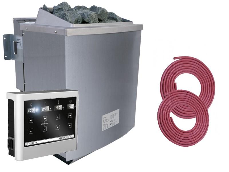 Karibu Ofen 9 kW inkl. ext. Steuerung und Anschluss-Kabel A + B