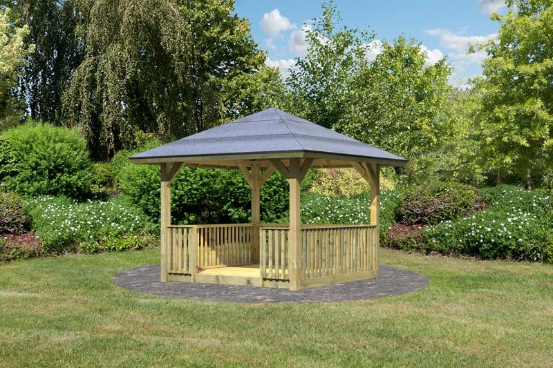 Karibu Holzpavillon Bergen 1 4-Eck-Pavillon Classic - kdi inkl. Brüstung und Boden