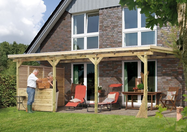 Karibu Holz Terrassenüberdachung Modell 3 ECO - Grösse C (363 x 622) cm - kdi