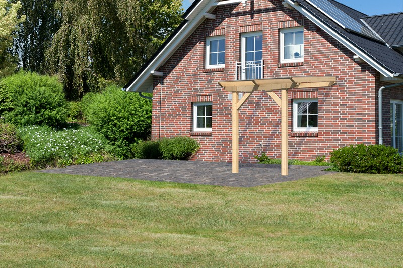 Karibu Holz Terrassenüberdachung Modell 1 Classic - Grösse A (250 x 200) cm - Leimholz natur