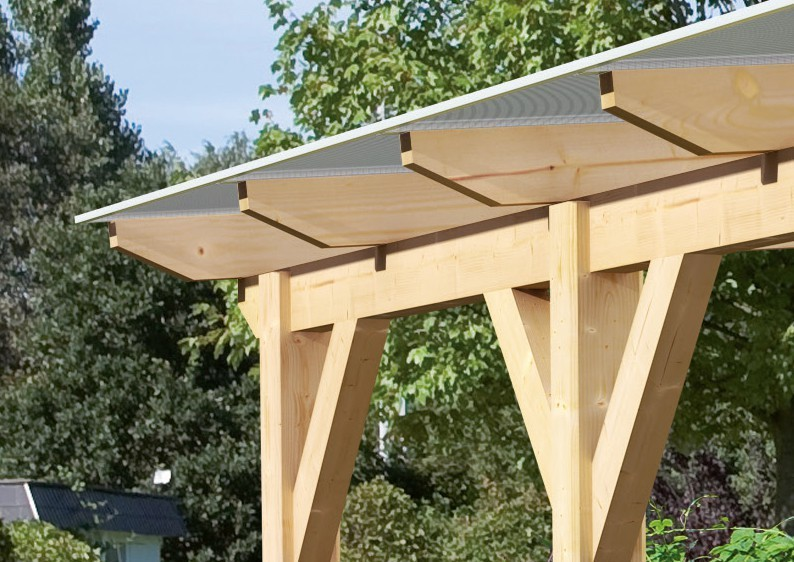 Karibu Holz Terrassenüberdachung Modell 1 Classic - Grösse B (250 x 402) cm - Leimholz natur