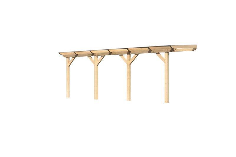 Karibu Holz Terrassenüberdachung Modell 1 Classic - Grösse C (250 x 402) cm - Leimholz natur